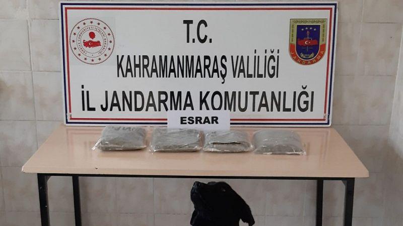 Kahramanmaraş'ta yolcu otobüsünde 2 kilogram esrar yakalandı