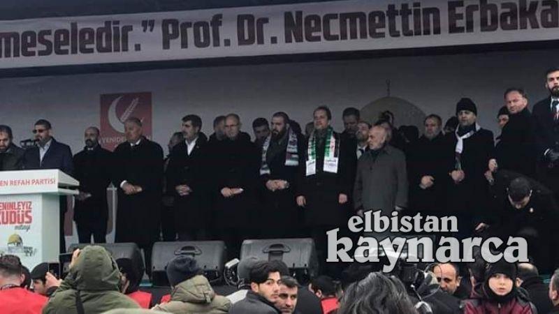"""""""Seninleyiz Kudüs"""" mitingine Elbistan'dan destek oldular"""