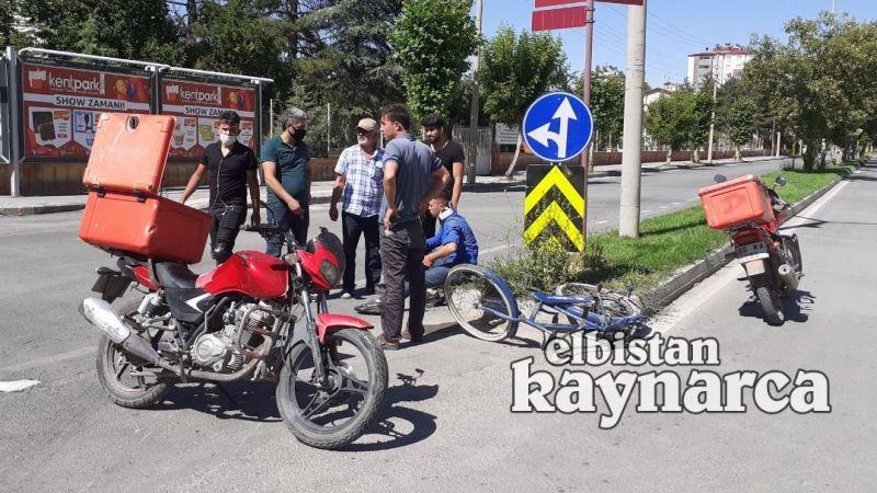 Motosiklet bisikletliye çarptı: 2 yaralı