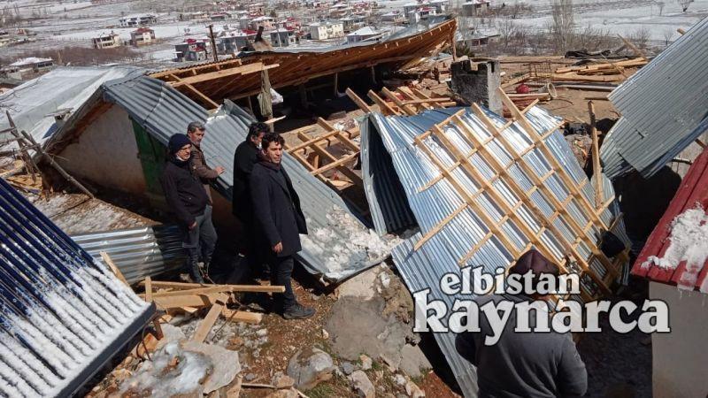 Nurhak'ta şiddetli rüzgar çatıları uçurdu