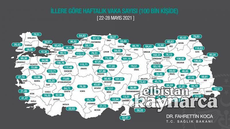 Kahramanmaraş insidans haritasında turuncu kategoride