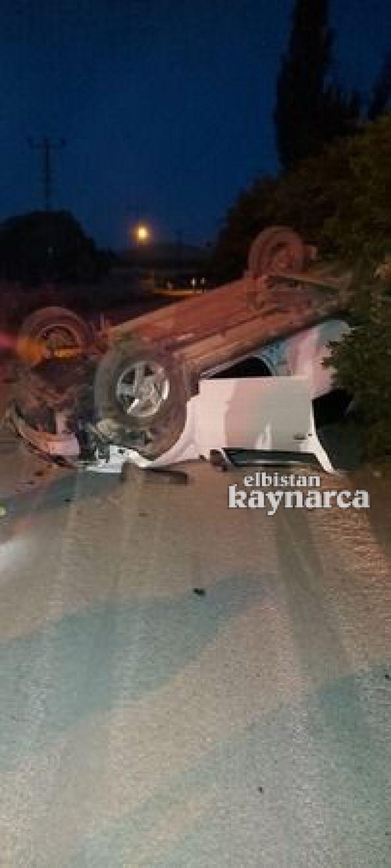 Duvara çarpıp takla atan aracın sürücüsü yaralandı