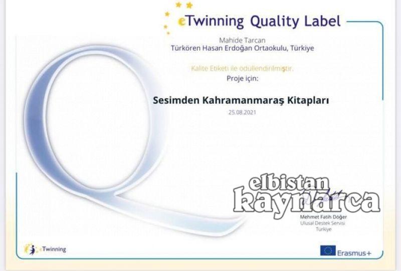 Türkören Hasan Erdoğan Ortaokulu'na e-Twinning kalite etiketi ödülü