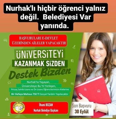 Nurhak Belediyesi'nden üniversite öğrencilerine 750 lira destek