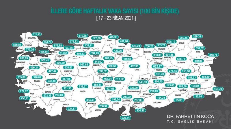 Haftalık vaka sayısını gösteren insidans haritası yayımlandı