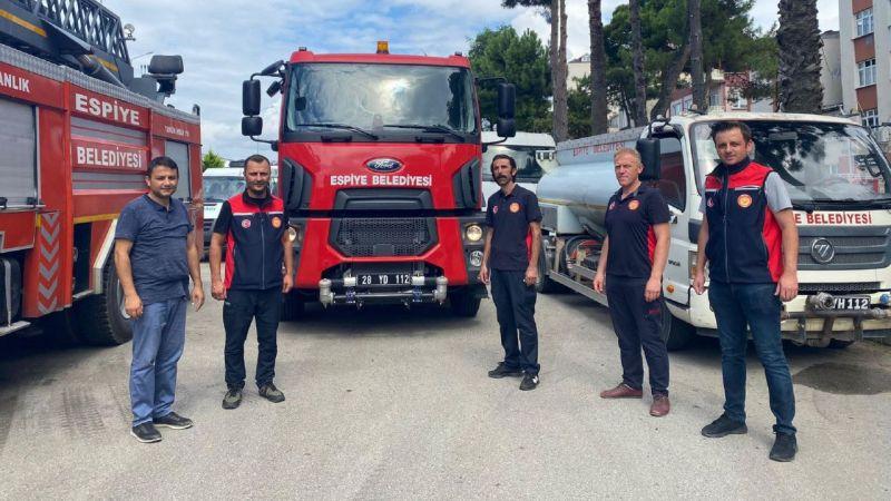 Espiye Belediyesi'nden Manavgat'a destek