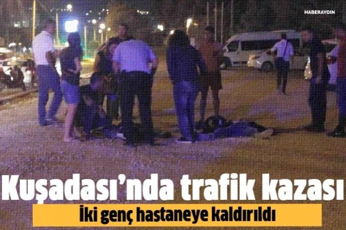 Kuşadası'nda motosiklet kazası, 2 yaralı