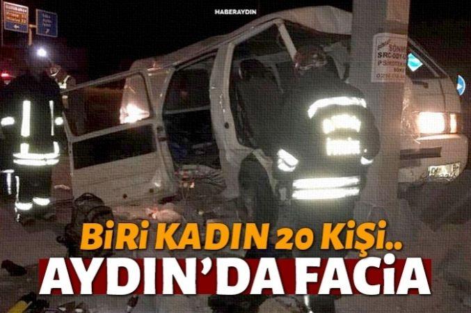 Göçmenleri taşıyan minibüs kaza yaptı: 1 ölü, 20 yaralı