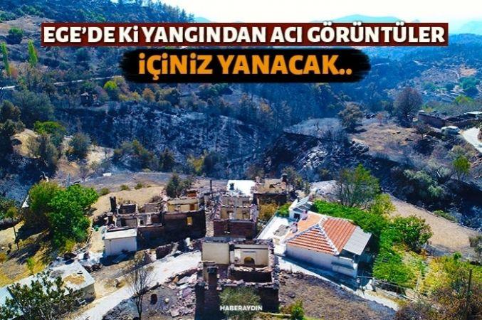 Yangında büyük zarar gören Zeytinköy drone ile görüntülendi