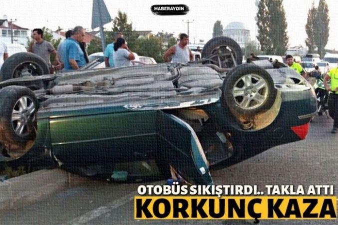 Otobüs sıkıştırdı, araç takla attı: 4 yaralı