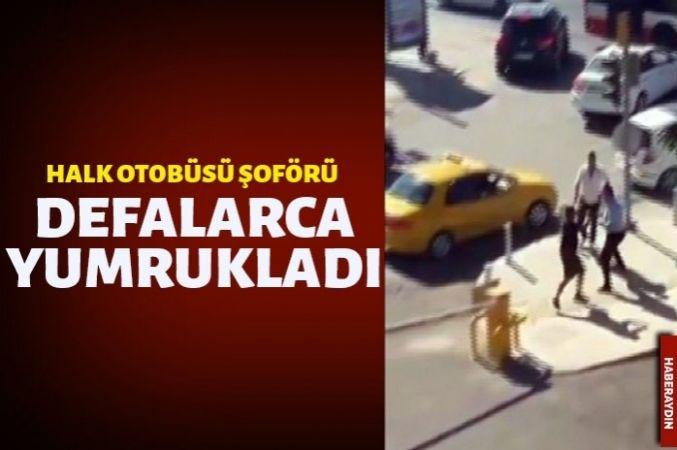 Halk otobüsü şoförü tartıştığı sürücüyü yumruklarıyla darp etti