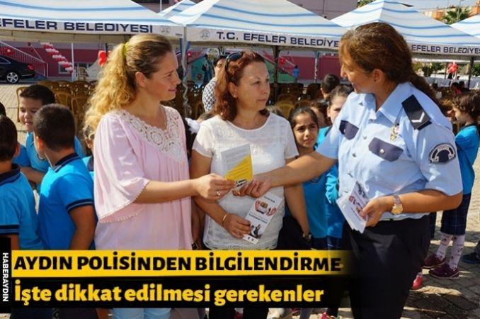 Aydın polisi okulun ilk günü velileri broşürle bilgilendirdi