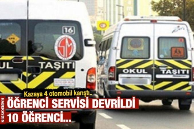 Ankara'da öğrenci servisi devrildi: 10 yaralı
