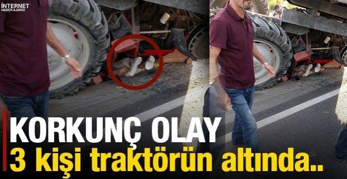 Devrilen traktörün altında kalan 3 kişi yaralandı
