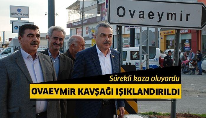 Sürekli kazaların yaşandığı Ovaeymir Kavşağı ışıklandırıldı