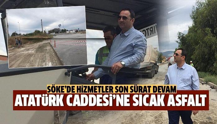 Söke Atatürk Caddesinde sıcak asfalt çalışması devam ediyor
