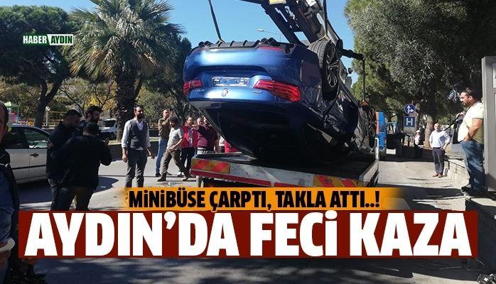 Aydın'da lüks otomobil takla attı