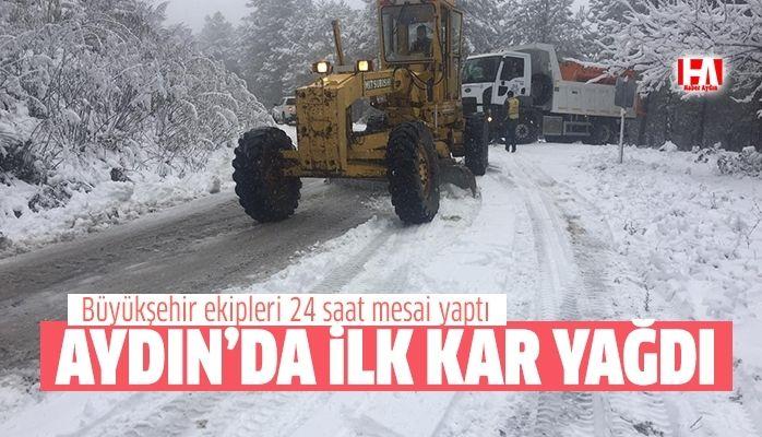 Aydın'a ilk kar yağdı.. Büyükşehir 24 saat çalıştı