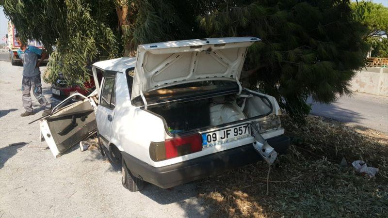 Ağaca çarpan otomobil sürücüsü yaralandı