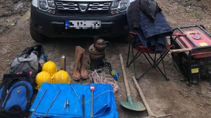 Afyonkarahisar'da kaçak kazı yapan 4 şüpheliden biri yakalandı