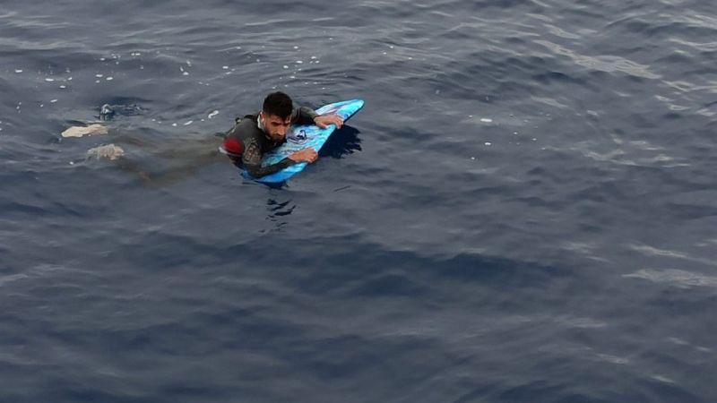 Bodrum'dan Yunanistan'a sörf tahtasıyla geçmeye çalışan sığınmacı yakalandı