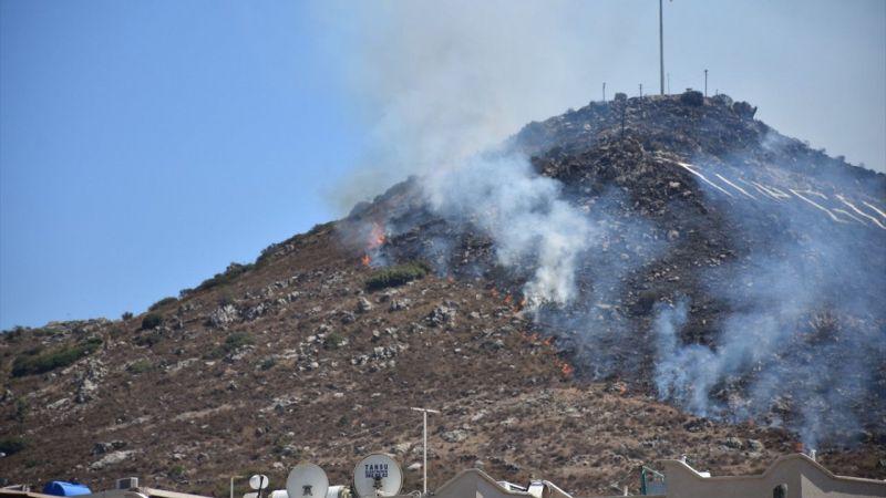 Bodrum'da makilik alanda çıkan yangına müdahale ediliyor