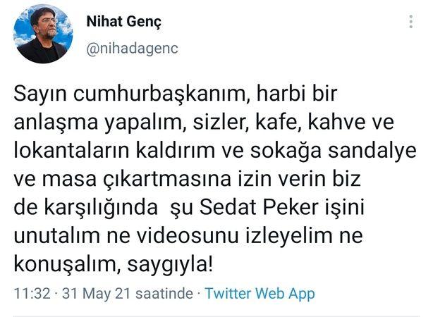 Gazeteci Nihat Genç'ten Erdoğan'a tepki çeken Sedat Peker teklifi!