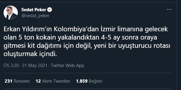 Sedat Peker'den Erkan Yıldırım'la ilgili yeni iddia!