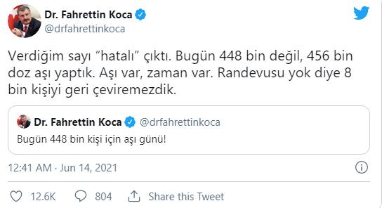 Fahrettin Koca: Verdiğim sayı hatalı çıktı