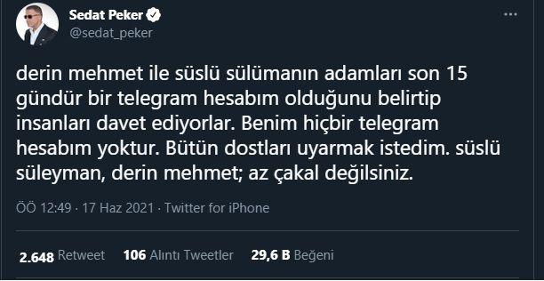 Sedat Peker 'dostlarımı uyarmak istedim' dedi, Süleyman Soylu'yu işaret etti!