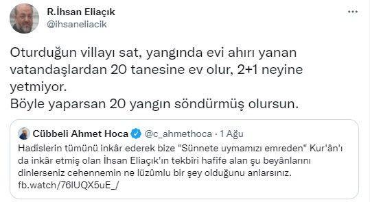İhsan Eliaçık'tan Cübbeli Ahmet'te tepki! 'Oturduğun villayı sat'