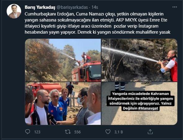 Erdoğan 'görevli olmayan alınmayacak' dedi, AKP'li isim itfaiye hortumuyla poz verdi
