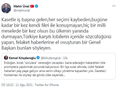 Mahir Ünal, Erdoğan'ın prompter konuşmasını böyle savundu
