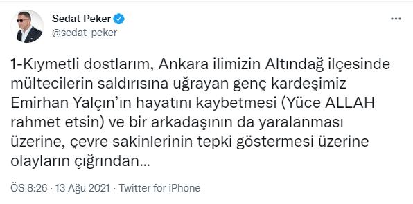 Sedat Peker'den Altındağ yorumu: Kimsenin ekmeğine yağ sürmemeliyiz