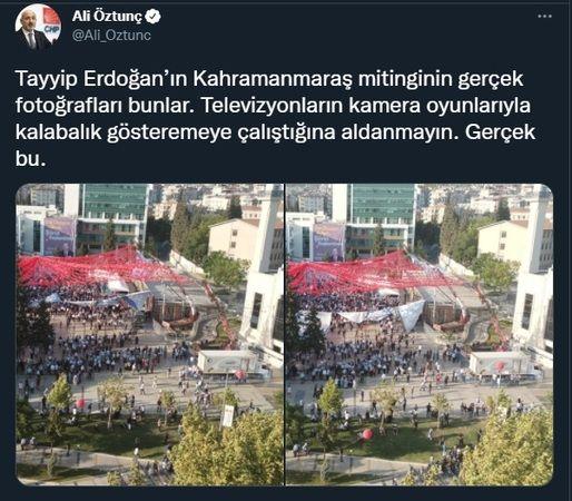 'Televizyonlara inanmayın' dedi, Erdoğan'ın şoke eden miting fotoğrafını paylaştı!