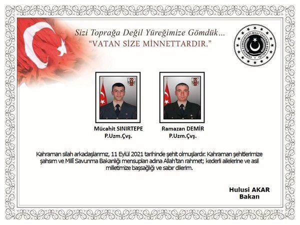 MSB acı haberi duyurdu: 2 asker şehit, 3 asker yaralı
