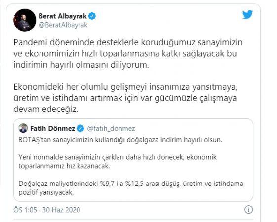 Hazine ve Maliye Bakanı Berat Albayrak'tan doğalgaz indirimi açıklaması: Hayırlı olmasını diliyorum