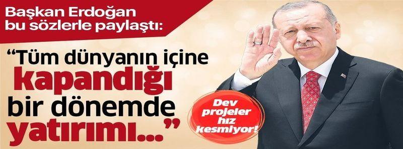 """Cumhurbaşkanı Erdoğan: """"Salgının dünya ekonomisinde küçülmeye yol açtığı dönemde Türkiye'nin olumlu yönde ayrışacağına inanıyoruz"""""""
