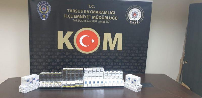 Tarsus'ta 300 paket kaçak sigara ele geçirildi