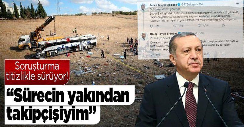 Cumhurbaşkanı Erdoğan'dan Balıkesir'deki kaza için başsağlığı mesajı