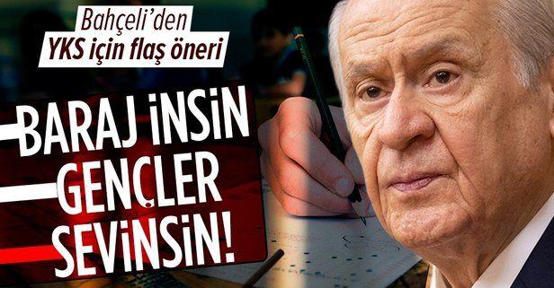"""MHP lideri Devlet Bahçeli'den """"TYT baraj puanın 140'a, AYT baraj puanın da 160'a çekilsin"""" talebi"""