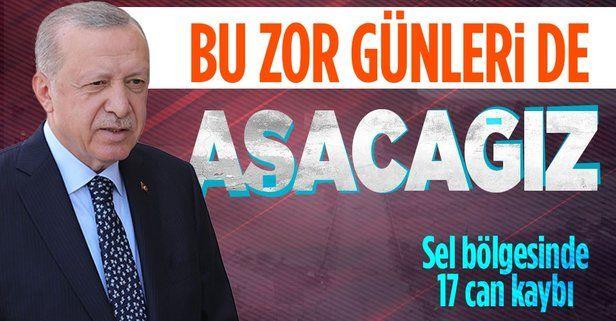 """Cumhurbaşkanı Erdoğan: """"Kastamonu, Sinop ve Bartın'daki selde hayatını kaybedenlerin sayısı 17"""""""