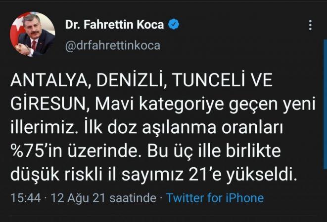 Sağlık Bakanı Koca, Denizli'nin risk haritasında Mavi'ye döndüğünü açıkladı