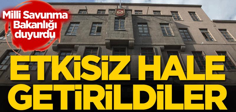 """MSB: """"Barış Pınarı bölgesine yönelik saldırı girişiminde bulunan 4 PKK/YPG'li terörist etkisiz hale getirildi"""""""