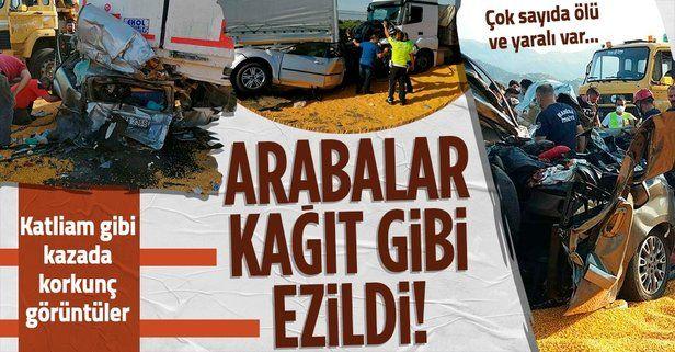 Manisa Salihli'de katliam gibi kaza! 3 TIR 2 otomobil birbirine girdi: Ölü ve yaralılar var