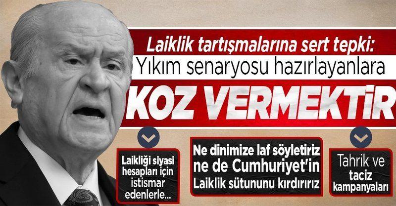 """MHP Genel Başkanı Bahçeli: """"Ne dinimize laf söyletiriz ne de Cumhuriyet'in laiklik sütununu kırdırırız"""""""