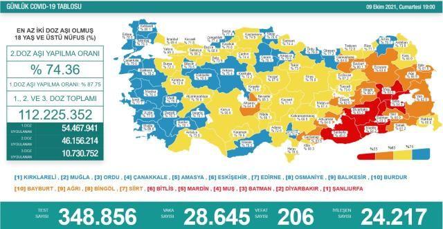 Türkiye'de 9 Ekim günü koronavirüs nedeniyle 206 kişi vefat etti, 28 bin 645 yeni vaka tespit edildi