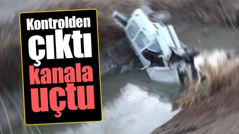 Kandıra'da kontrolden çıkan araç kanala uçtu