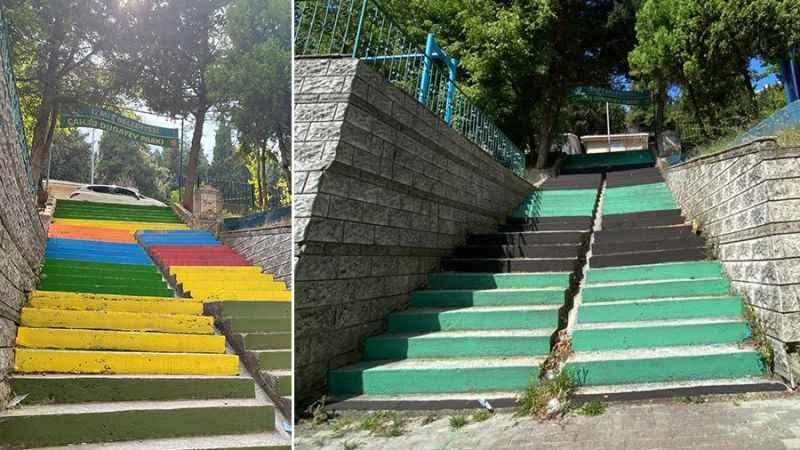O merdivenler yeşil siyah oldu