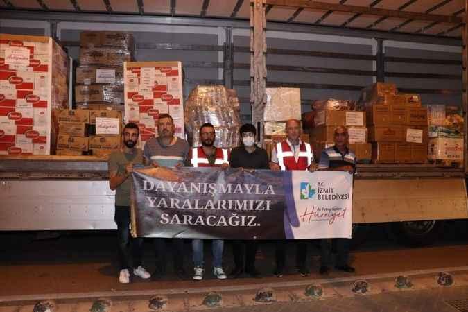 İzmit Belediyesi'nin yardım tırı, sel bölgesi için yola çıktı